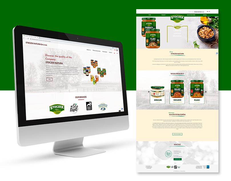 Strona www dla marki Stoczek Natura. Strona internetowa prezentująca szeroką gamę produktów