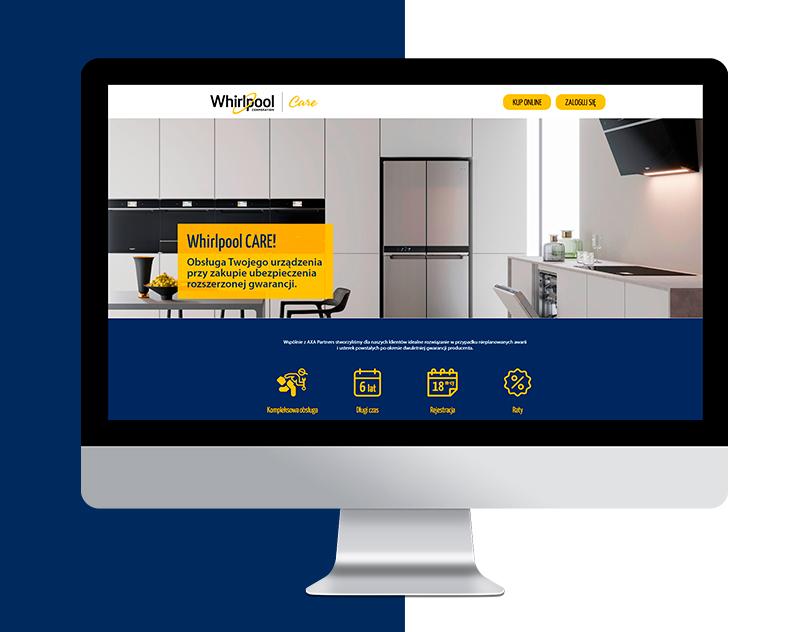 Strona internetowa dla sprzedaży rozszerzonej gwarancji dla marki Whirlpool.