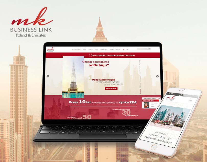Strona internetowa dla MK Business Link. Nowoczesna strona www z rozbudowanymi animacjami